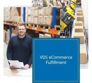 VDS eCommerce und Fulfillment im Hintergrund ein Palettenregal und die Versandstraße