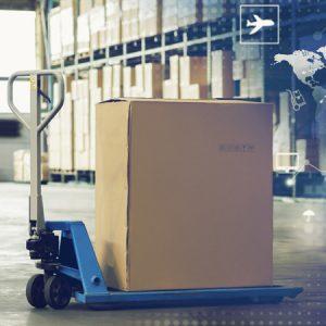 Ein Karton auf einem Hubwagen